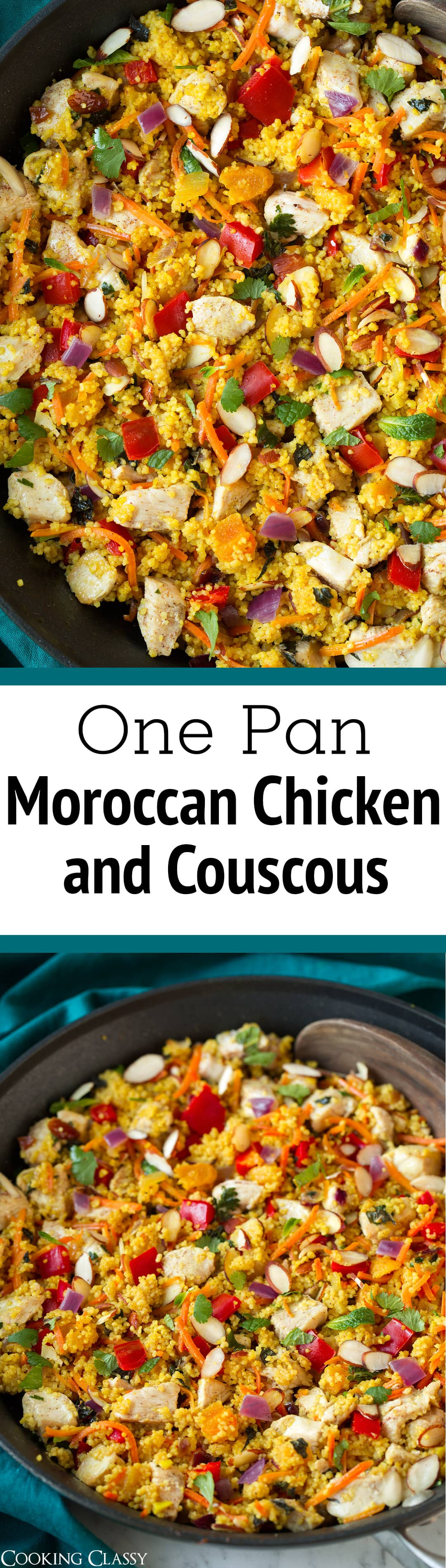 One Pan Moroccan Chicken and Couscous - this is one of my favorite one pan dinners to date! It has a delicious blend of flavors and textures, it's a healthy dinner, and it's brimming with those irresistible deliciously spiced Moroccan flavors. #easy #healthy #onepan #moroccan #couscous #chickenrecipe