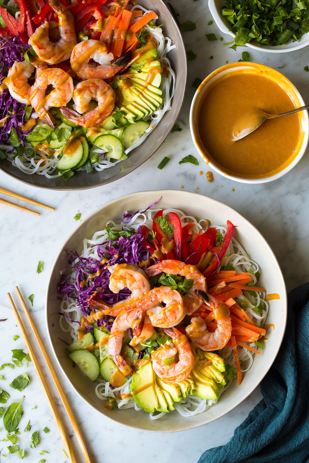 Rainbow Spring Roll Bowls with Shrimp or Chicken
