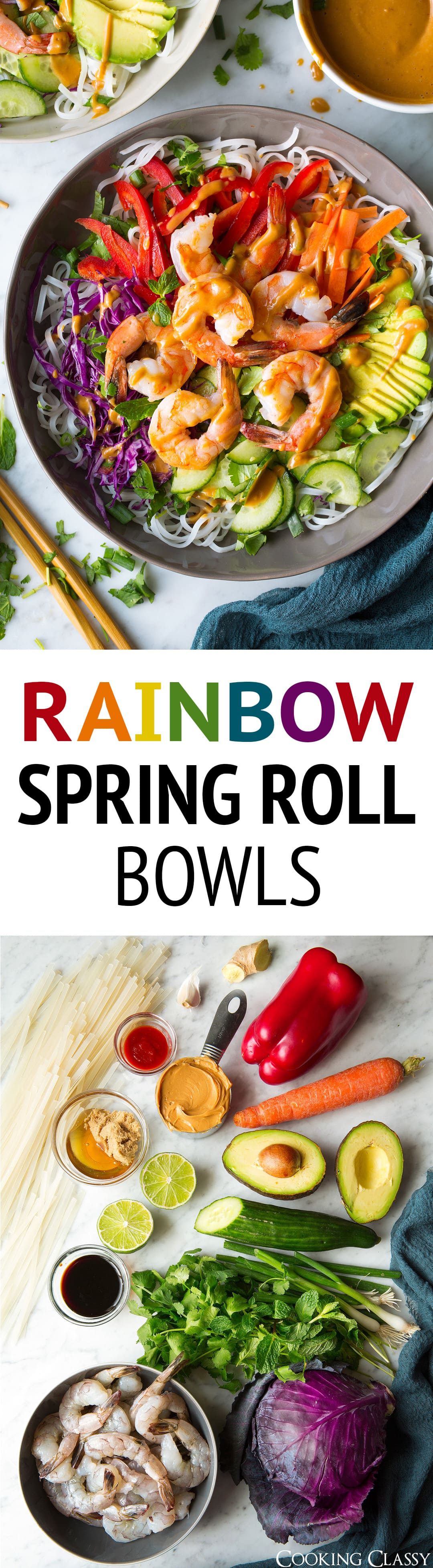 Rainbow Spring Roll Bowls with Peanut Sauce these are SO GOOD! They're boasting with bright and rich flavors and a beautiful array of colors. Then add shrimp or chicken to the mix to make them that much more filling. I just can't get enough of these bowls! #springrolls #summerrolls #chicken #shrimp #bowls #healthyrecipe #thai