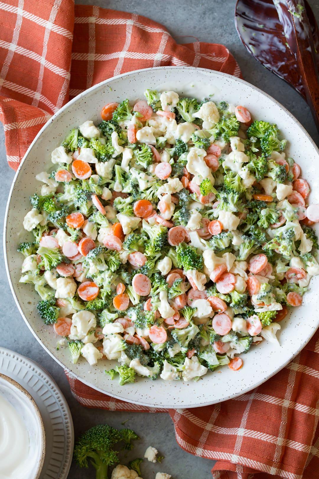 Broccoli Carrot Cauliflower Coleslaw Salad