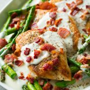 Chicken and Asparagus with Provolone Cheese Sauce and Bacon