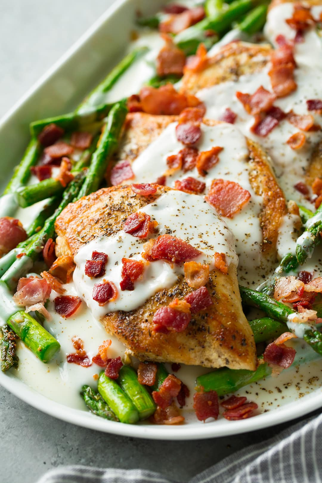 Chicken And Asparagus With Provolone Cheese Sauce And Bacon Cooking Classy