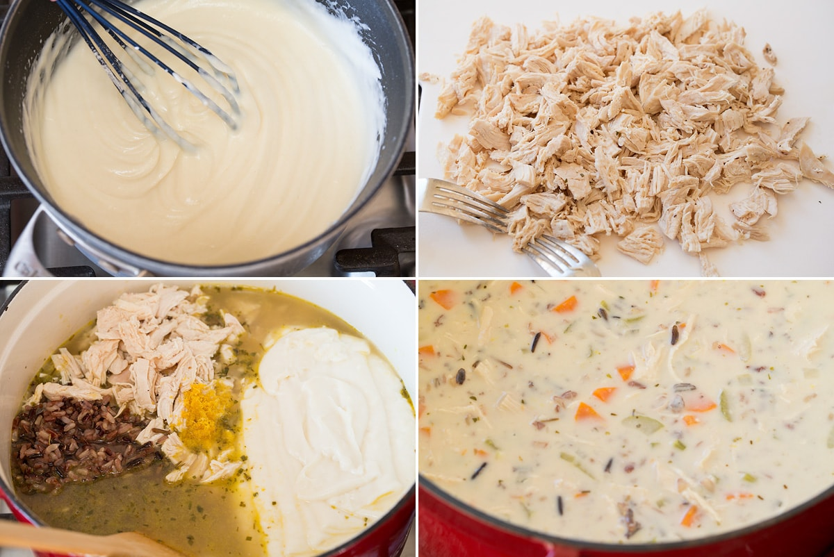 Collage of four images continued of making chicken wild rice soup. Shows finished white sauce, shredding chicken, adding final ingredients to soup and finished soup.