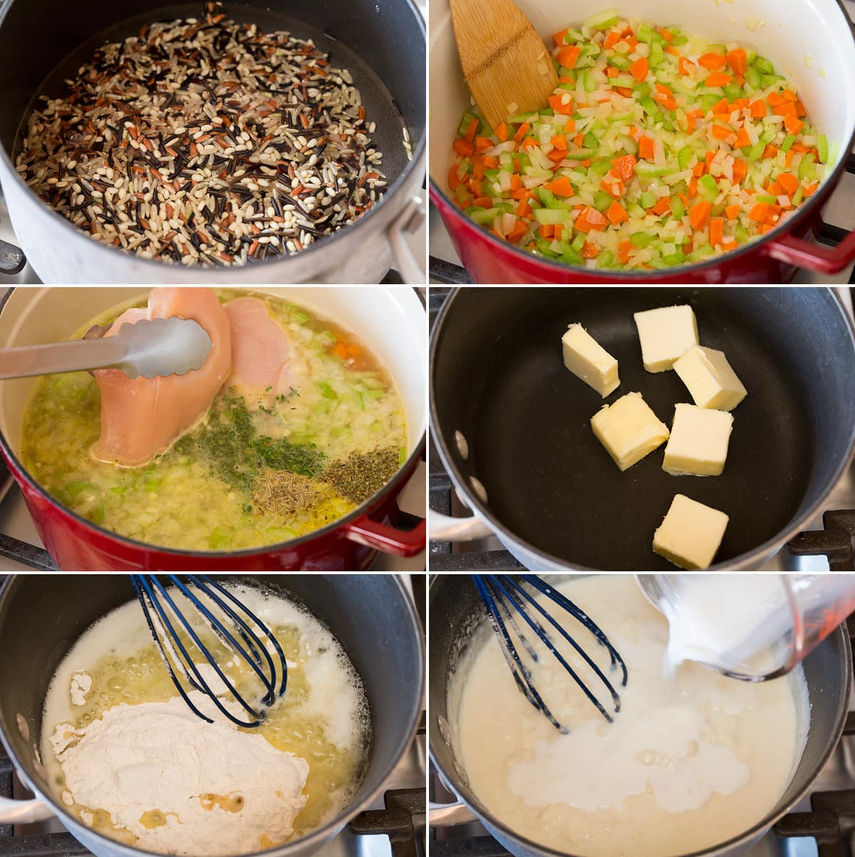 Collage of six images showing steps to preparing chicken and wild rice soup. Shows cooking wild rice separately, cooking chicken broth and herbs, then making bechemel sauce in a saucepan.