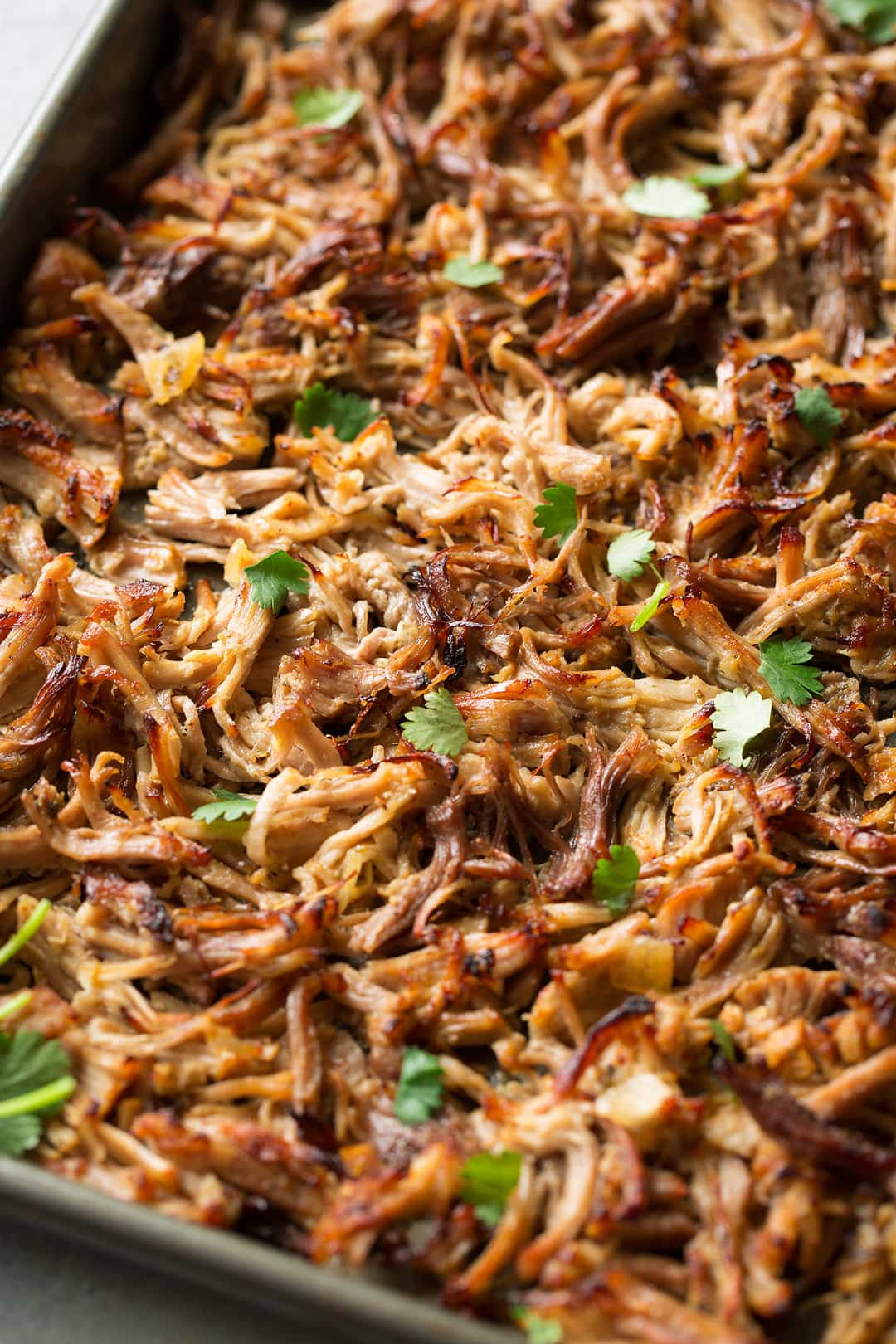 Carnitas shown here after broiling on a baking sheet