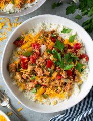 Unstuffed Pepper Bowls with Cauliflower Rice