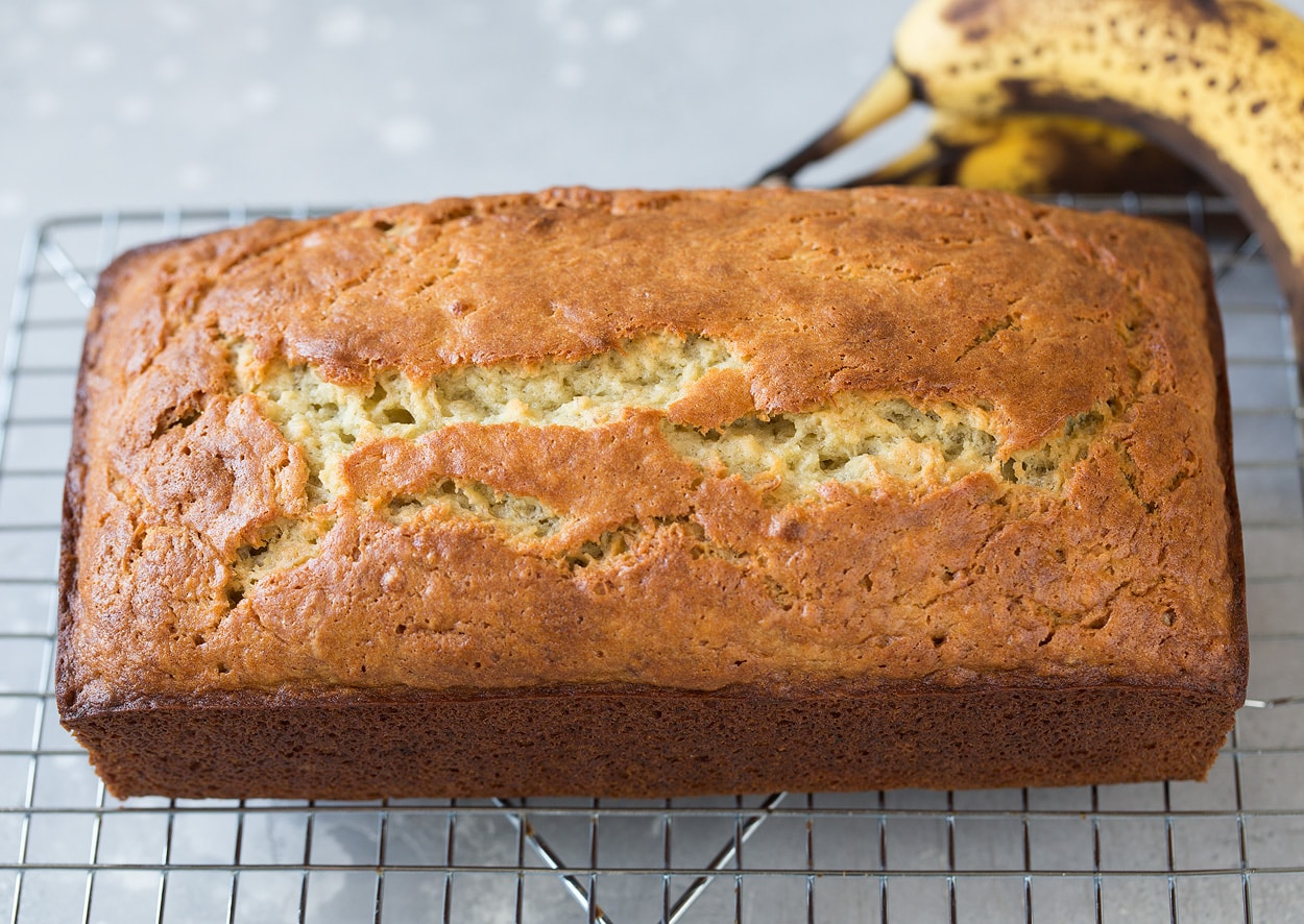 loaf of banana bread on cooling rack