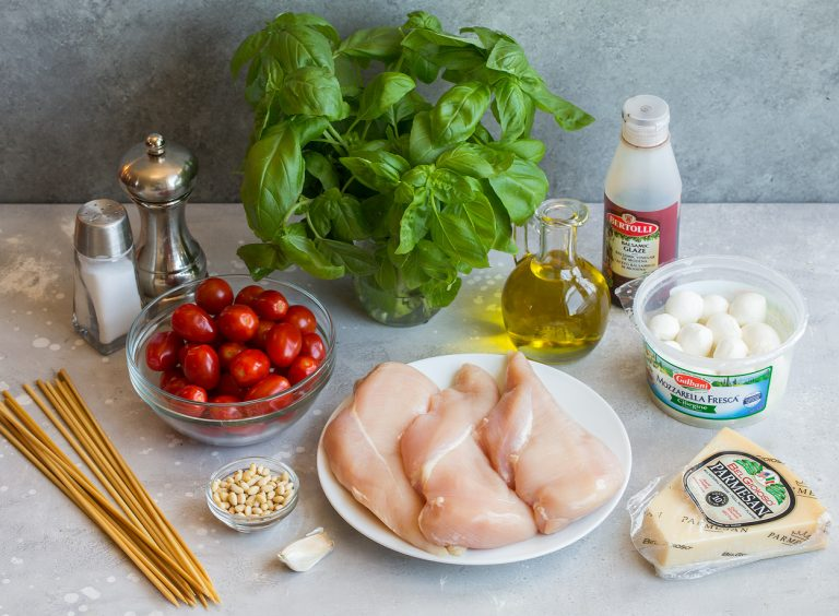 ingredients for caprese chicken kebabs