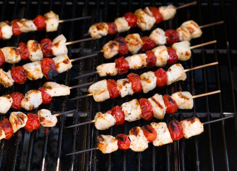 grill caprese chicken kebabs