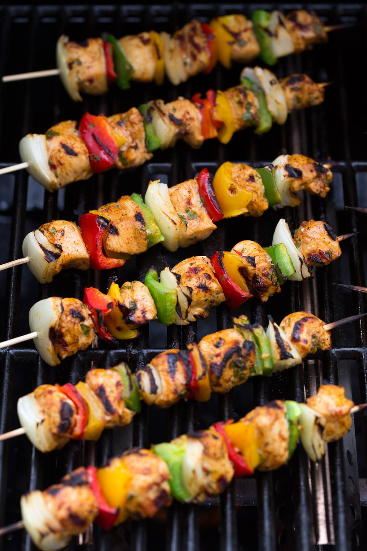 chicken fajita kebabs on grill