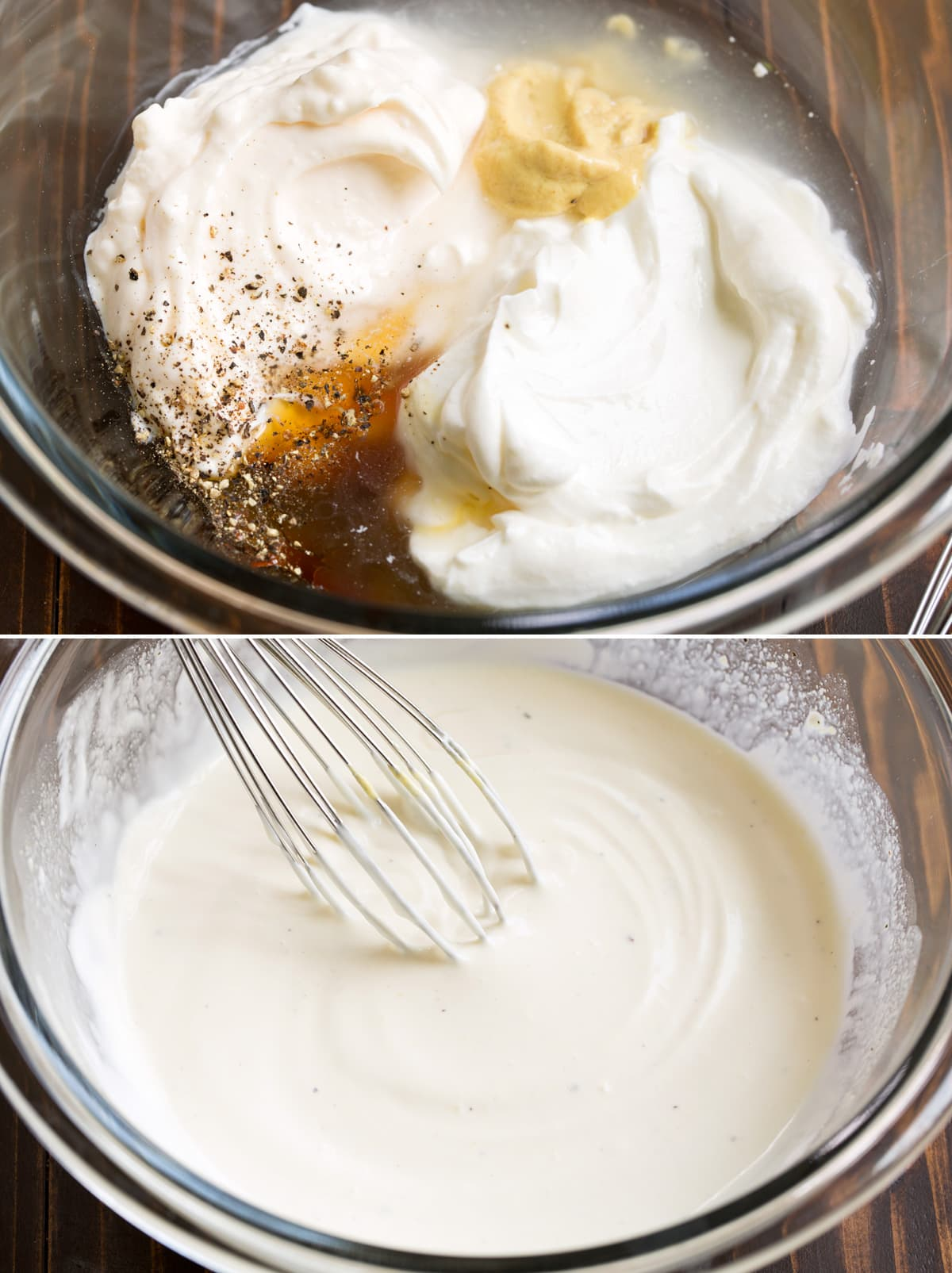 Collage image of macaroni salad dressing in a mixing bowl shown before and after mixing.