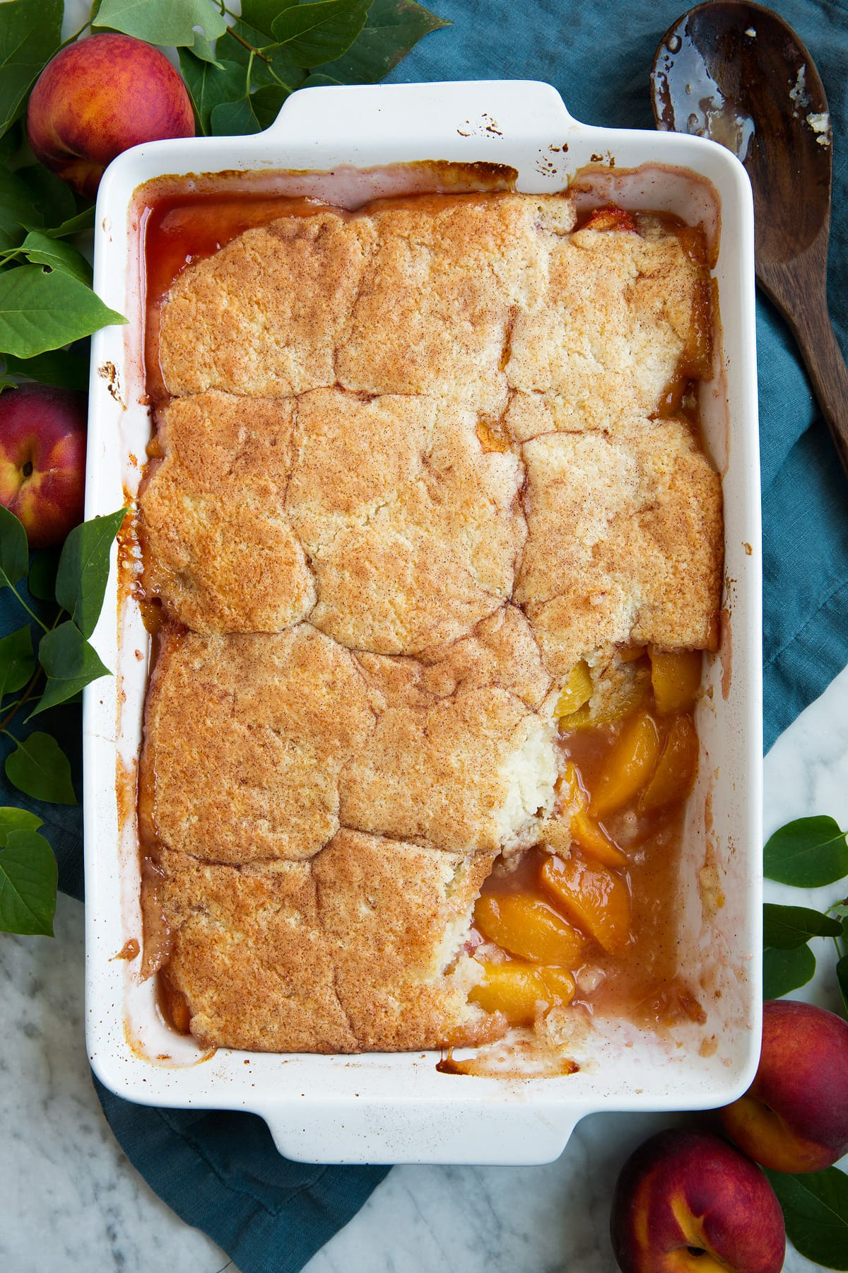 Whole pan of peach cobbler.
