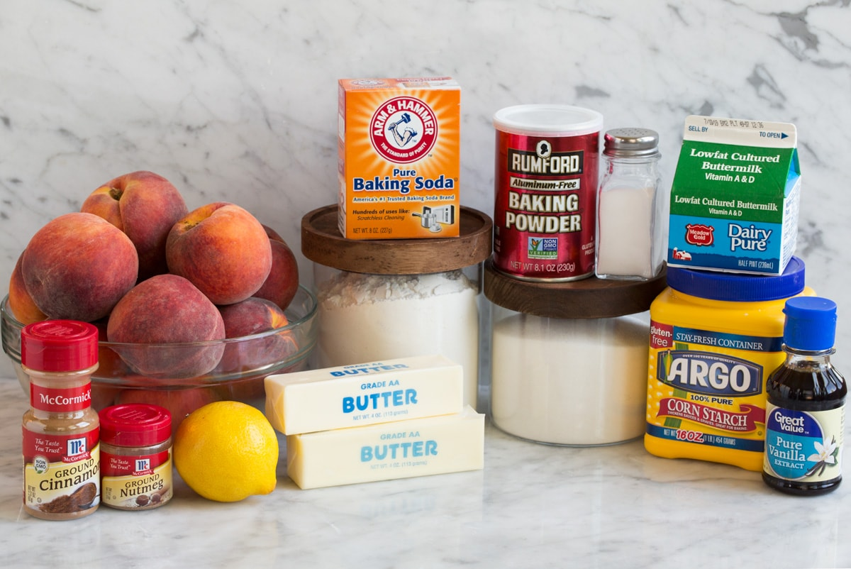 Ingredients needed to make peach cobbler shown here.