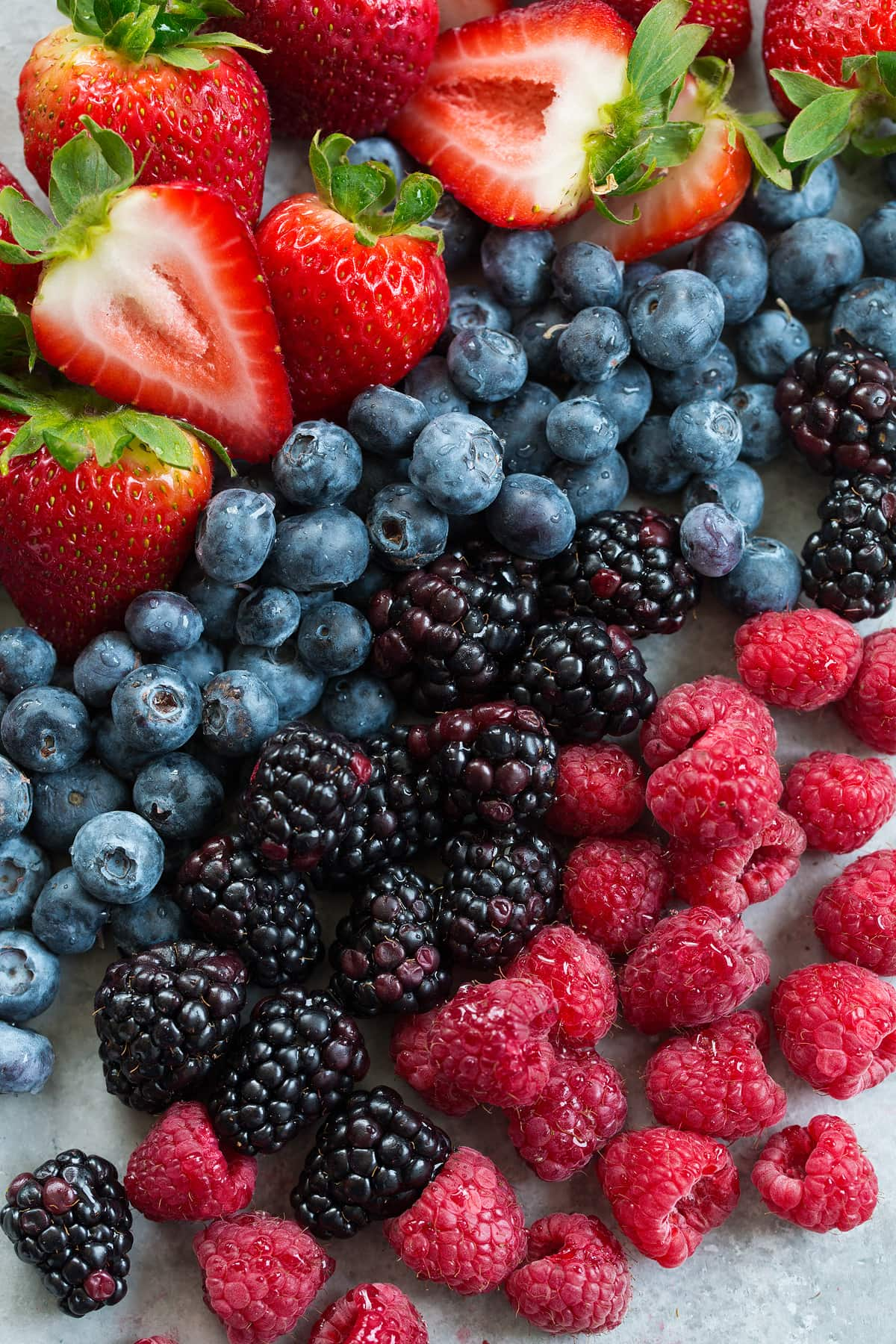 photo of fresh berries for berry cheesecake fruit salad