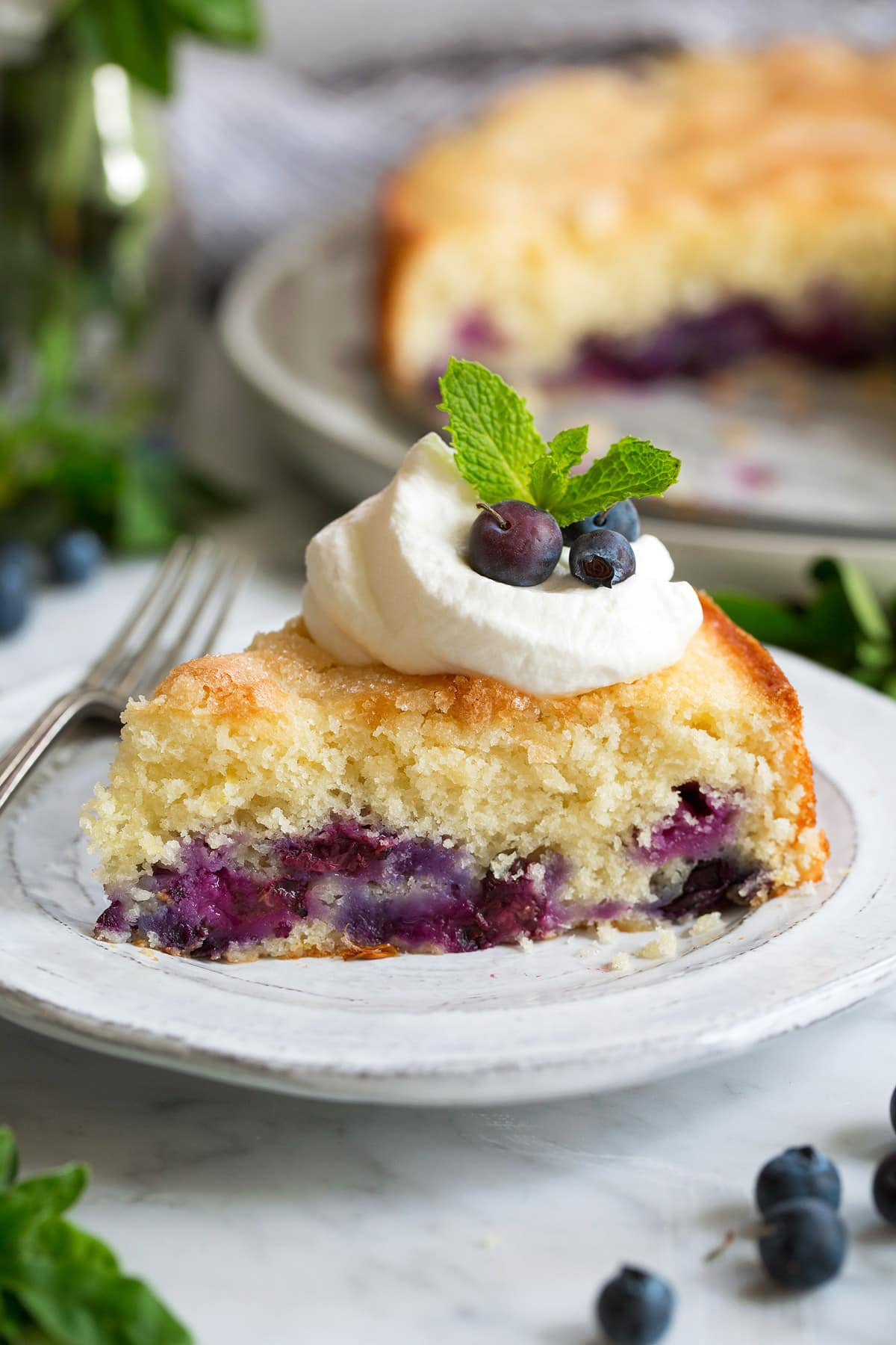 blueberry buttermilk cake slice topped with whipped cream and mint leaves