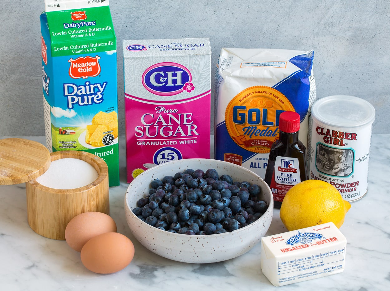 blueberry cake ingredients flour sugar baking powder butter lemon vanilla blueberries sugar eggs salt buttermilk