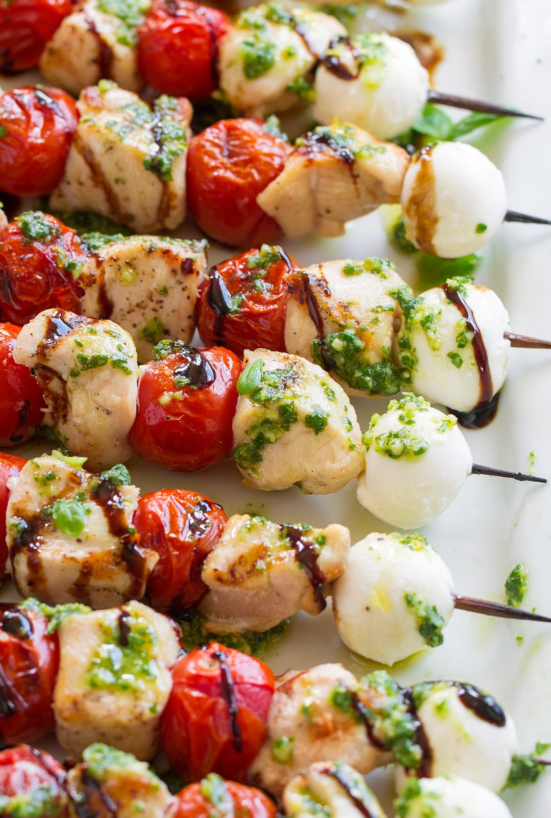 close up of Chicken Caprese Skewers