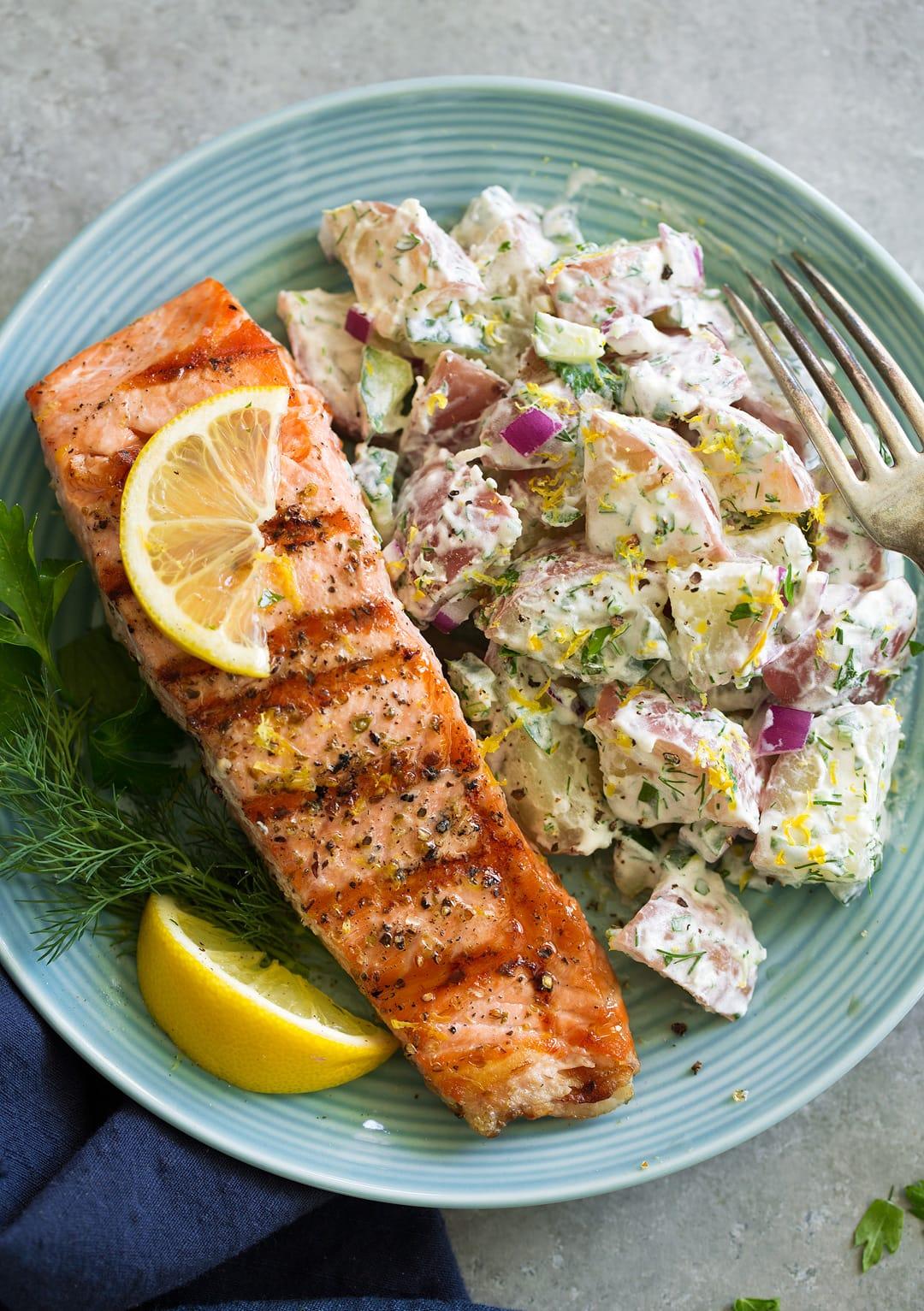 greek potato salad with salmon