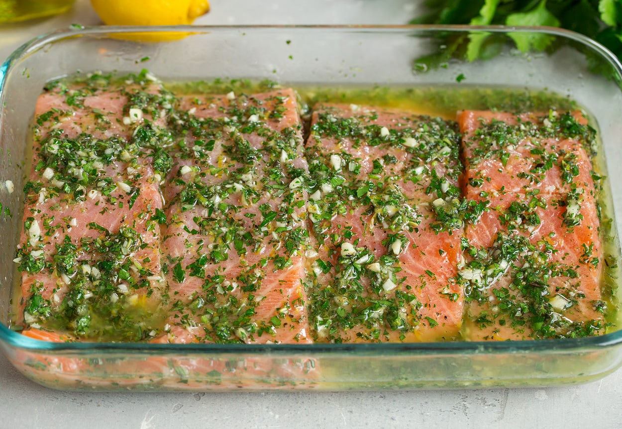salmon marinating before grilling