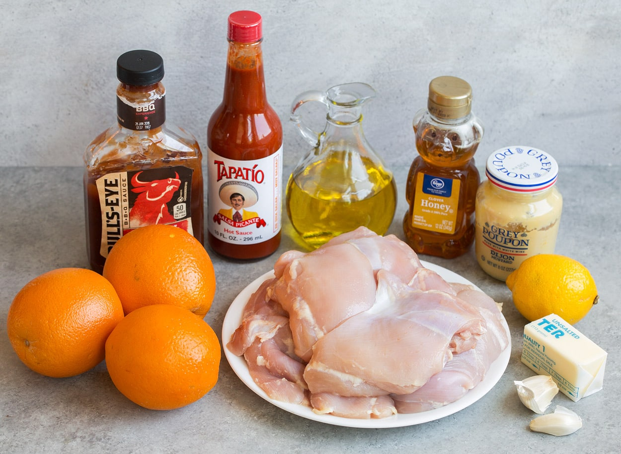 ingredients grilled chicken oranges bbq sauce hot sauce olive oil honey dijon mustard lemon butter garlic chicken thighs