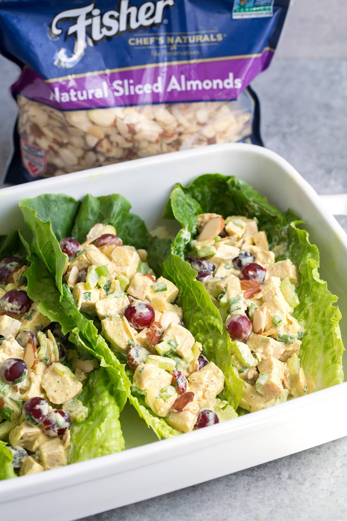 Curry Chicken Salad in lettuce boats