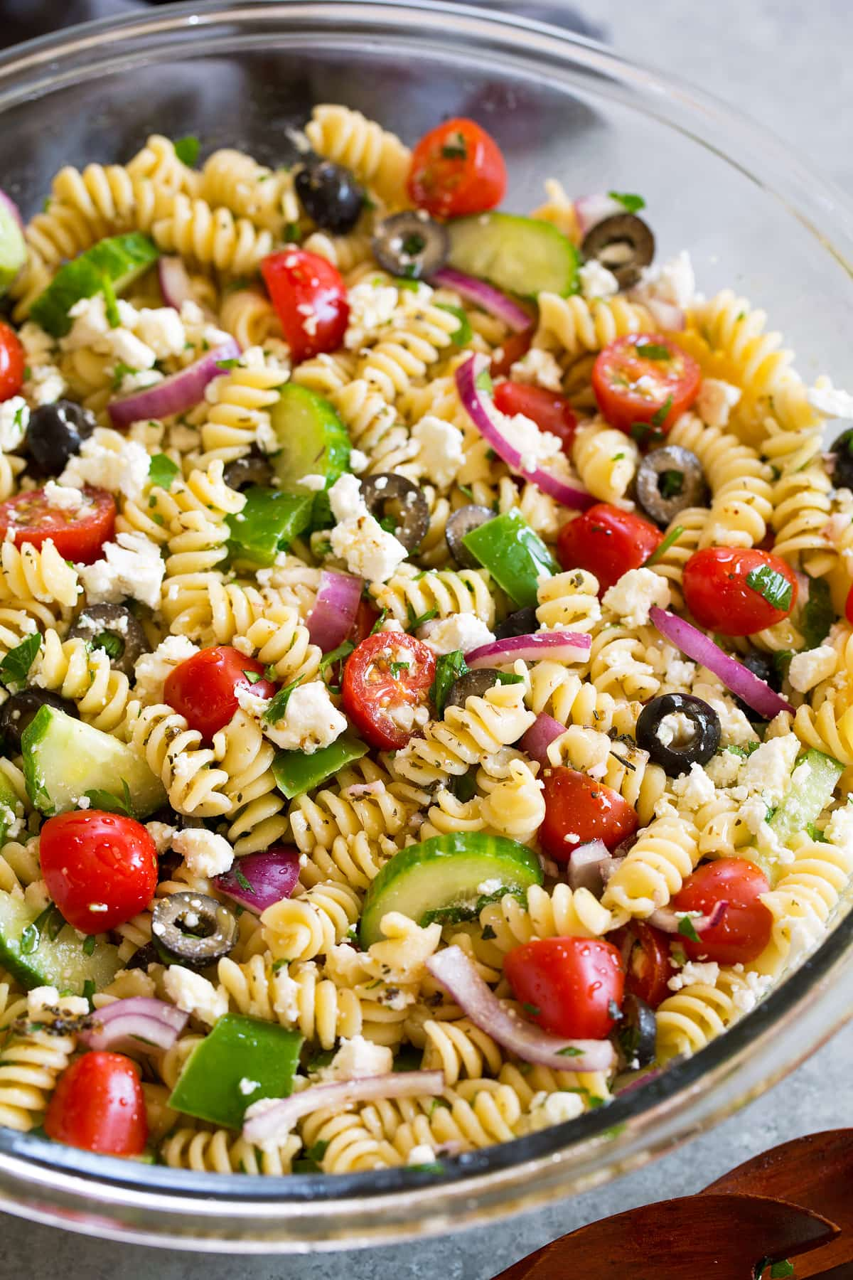 Greek Pasta Salad rinsing noodles