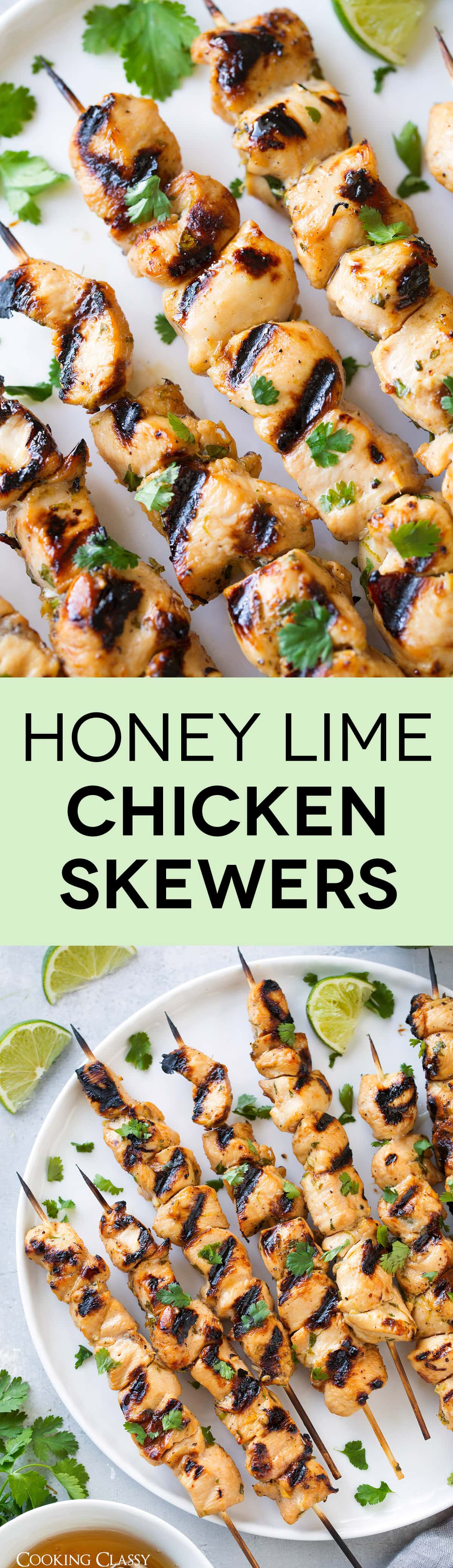 Honey Lime Chicken Skewers - AMAZING! Loved these flavors and the marinade is so easy to make. A summertime staple. #chicken #skewers #kebabs #honeylime #recipe #summer