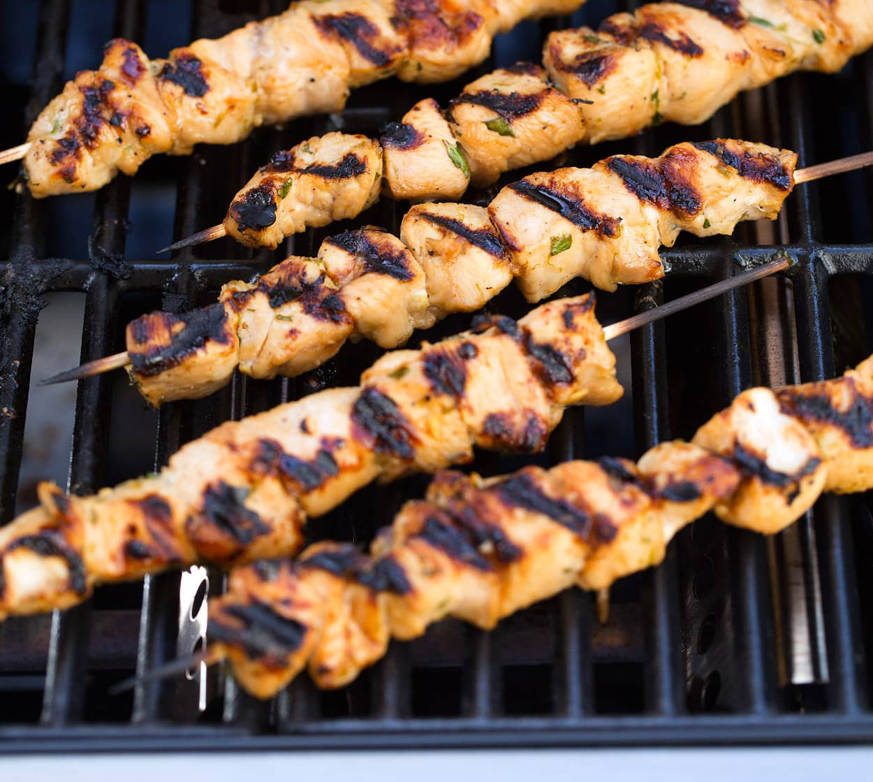 honey lime chicken skewers on grill