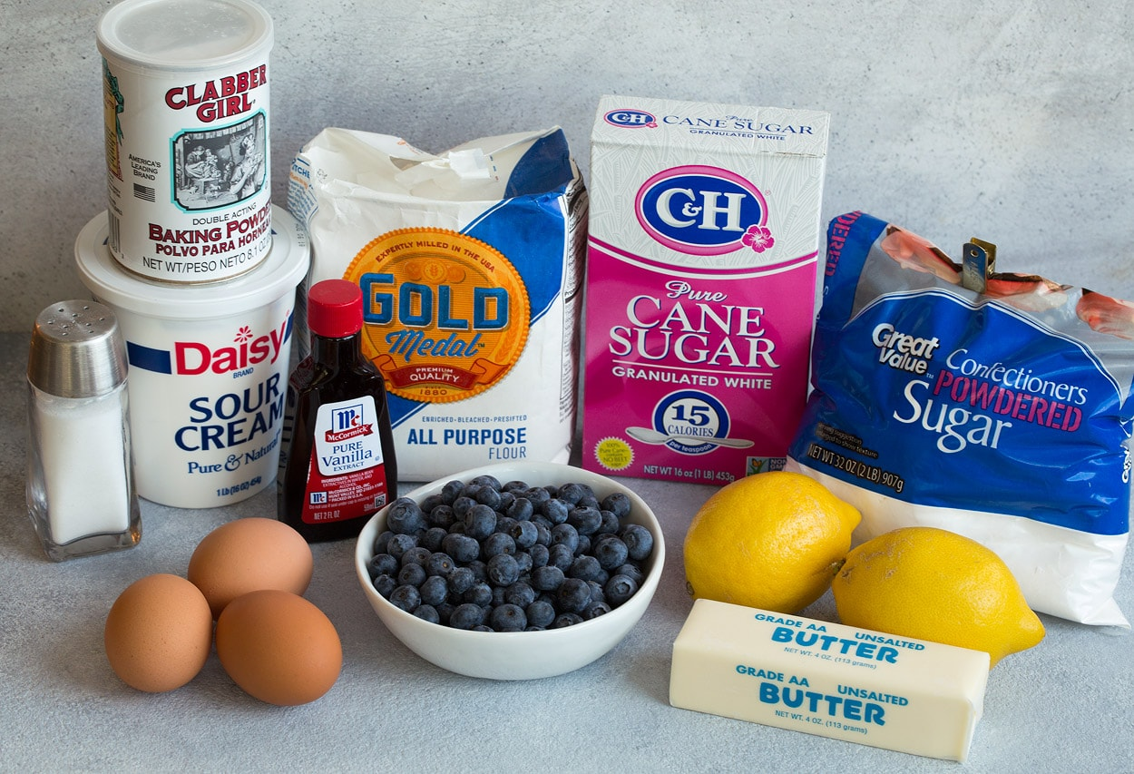 Lemon Blueberry Bread ingredients