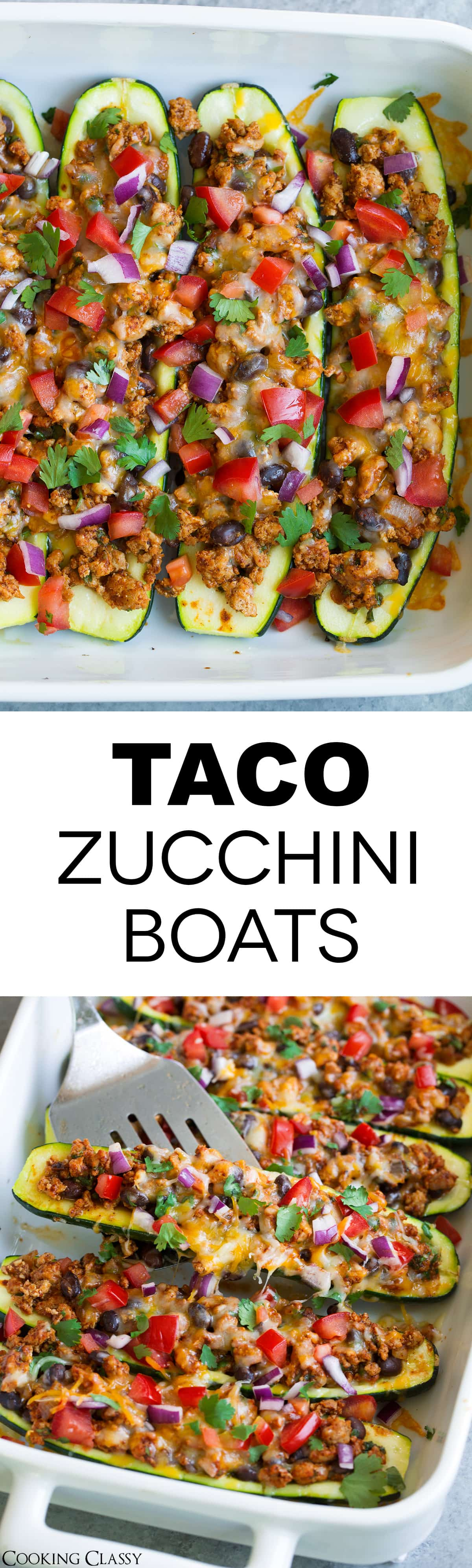 Taco Zucchini Boats - already made these 3 times! They're jam packed with flavor, they're perfectly filling, and have less carbs than the traditional flour or corn tortilla tacos. #zucchini #recipe #summer #zucchiniboats #tacos