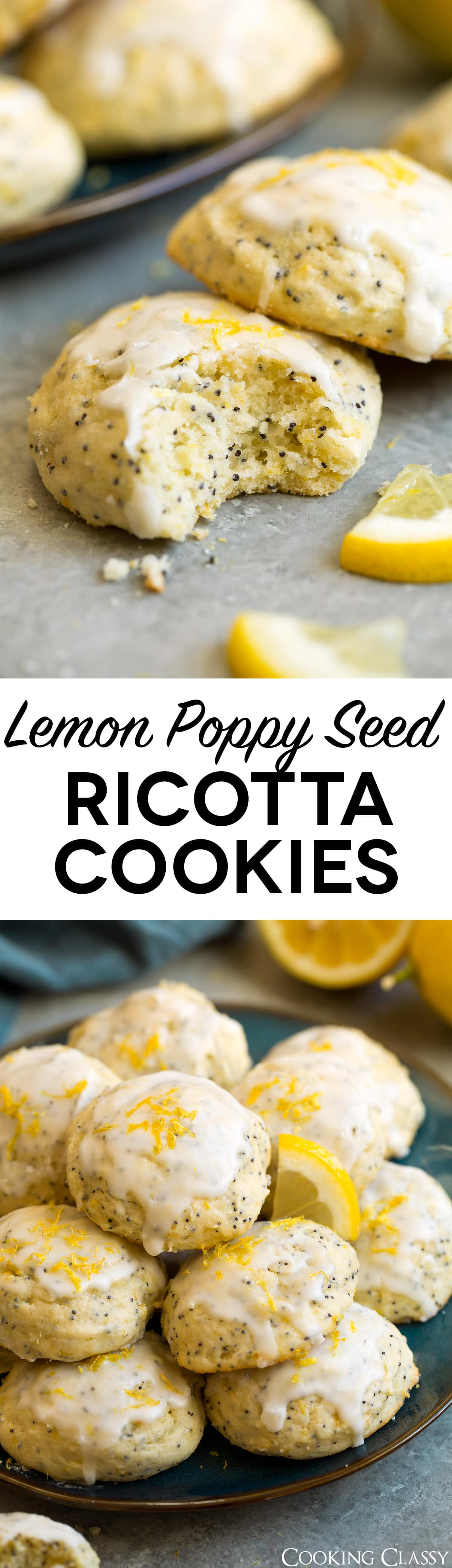 Lemon Poppy Seed Ricotta Cookies - a must try cookie! Perfectly tender, brightly lemony and the glaze is the perfect finish! #cookies #ricottacookies #lemoncookies #recipe