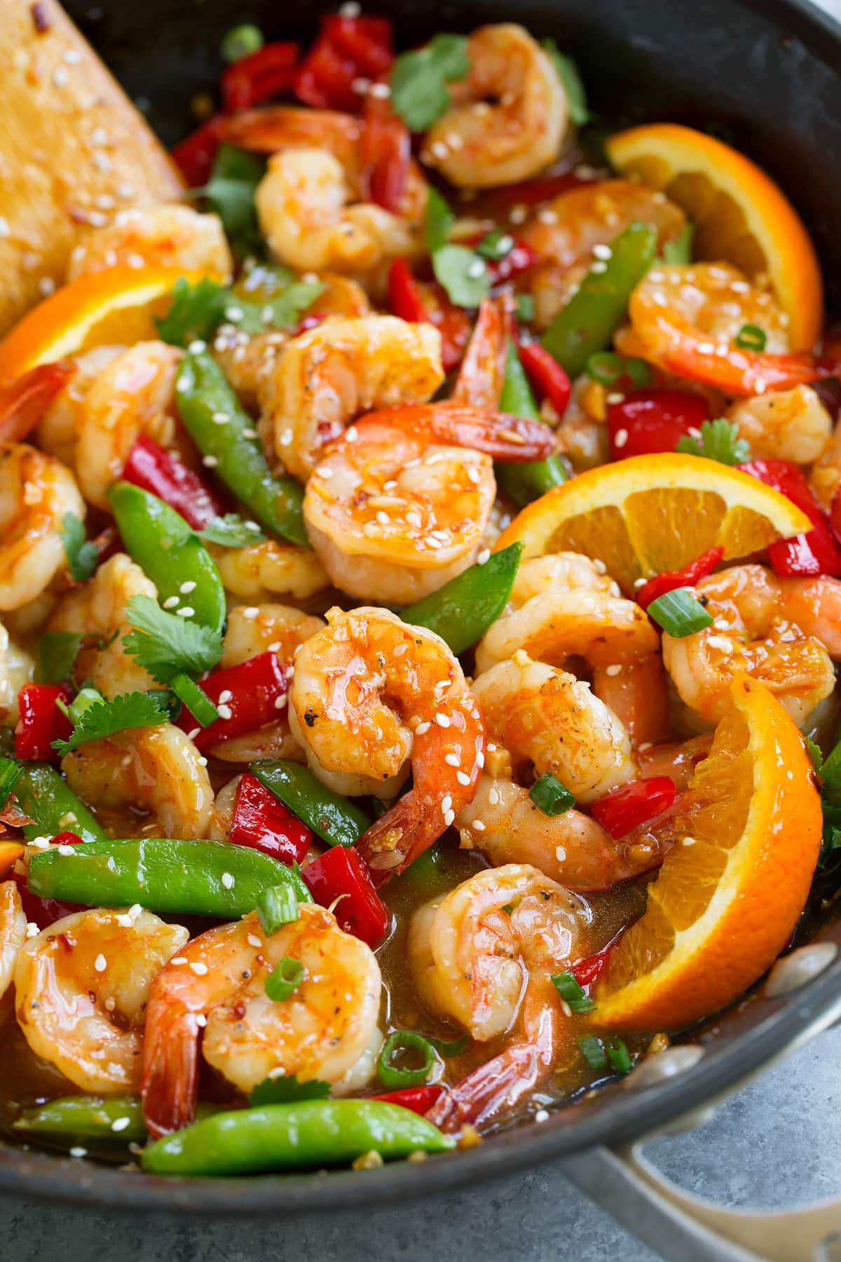 Orange Garlic Shrimp finished recipe shown in skillet