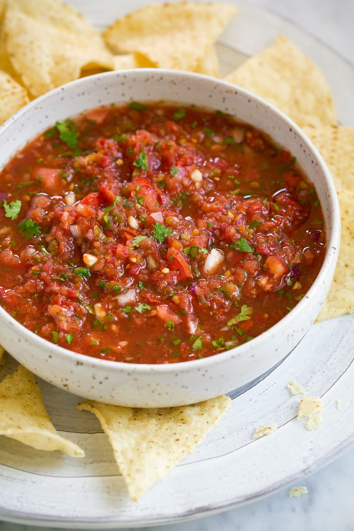 Fresh Homemade Salsa in a bowl next to tortilla chips