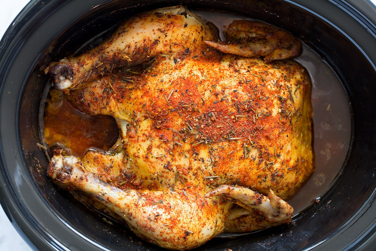 Slow Cooker Rotisserie Style Chicken finished cooking in slow cooker