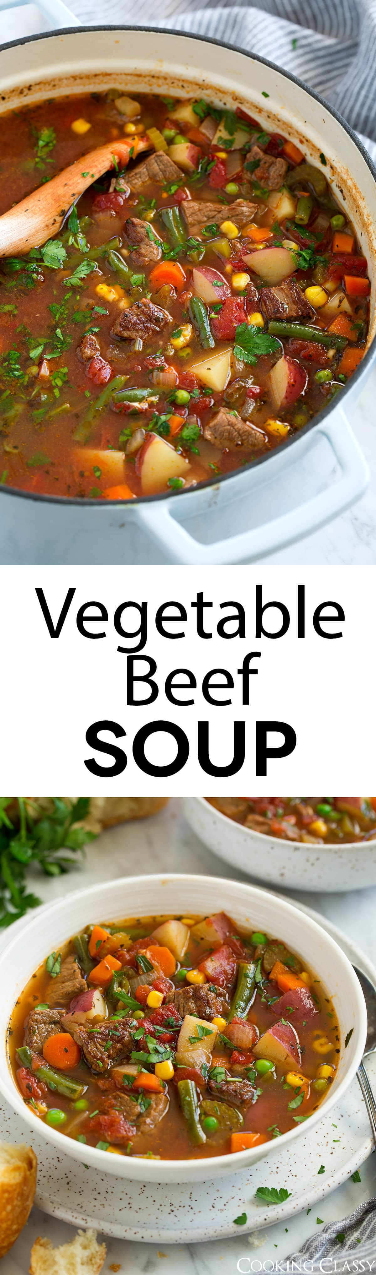 Vegetable Beef Soup - This soup is the perfect way to use up all those summer veggies and those tender chunks of beef add such a delicious flavor. A hearty soup that's sure to satisfy, and you'll love the left overs! #soup #vegetablesoup #beefsoup #comfortfood #recipe