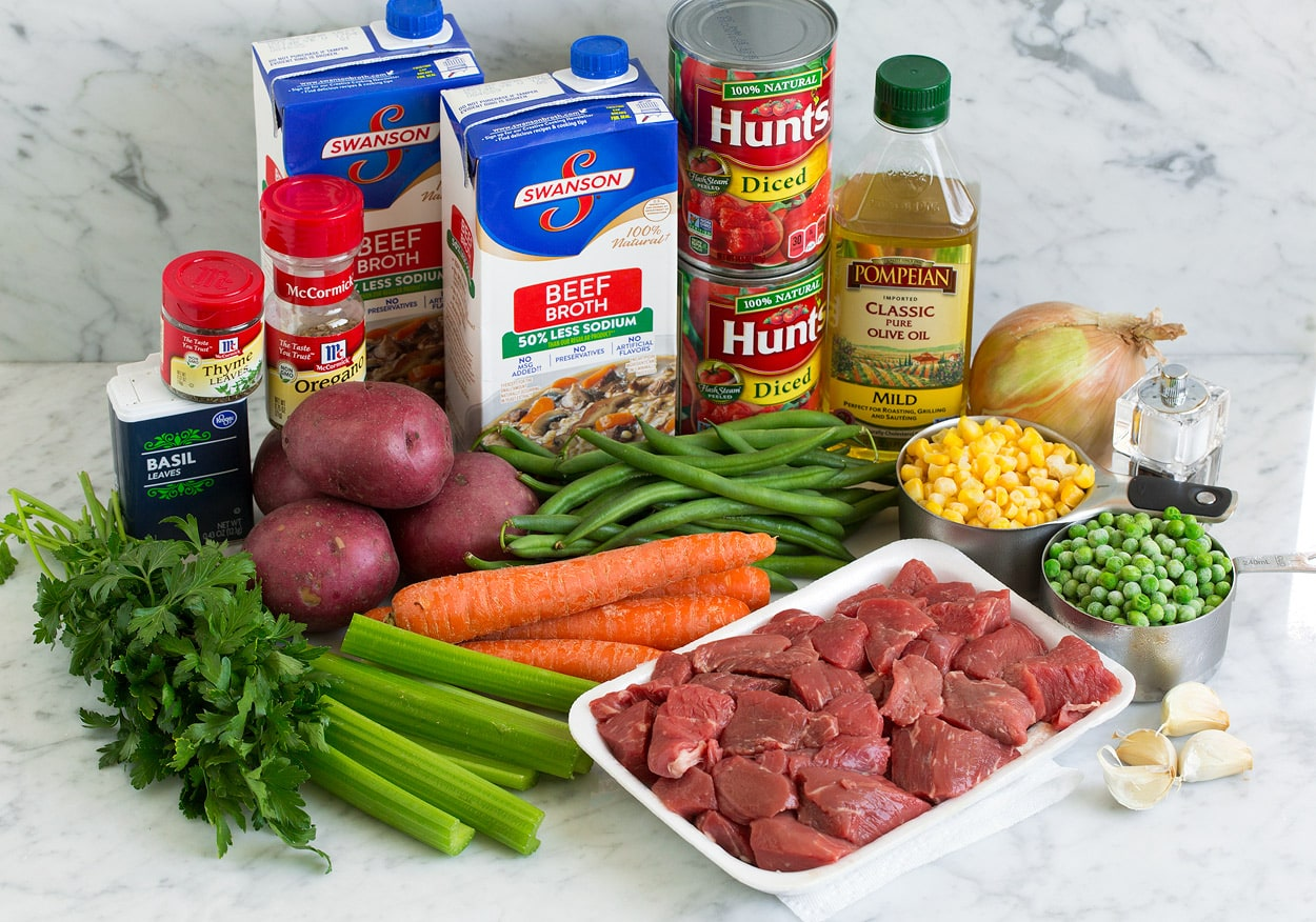 Ingredients for Vegetable Beef Soup displayed