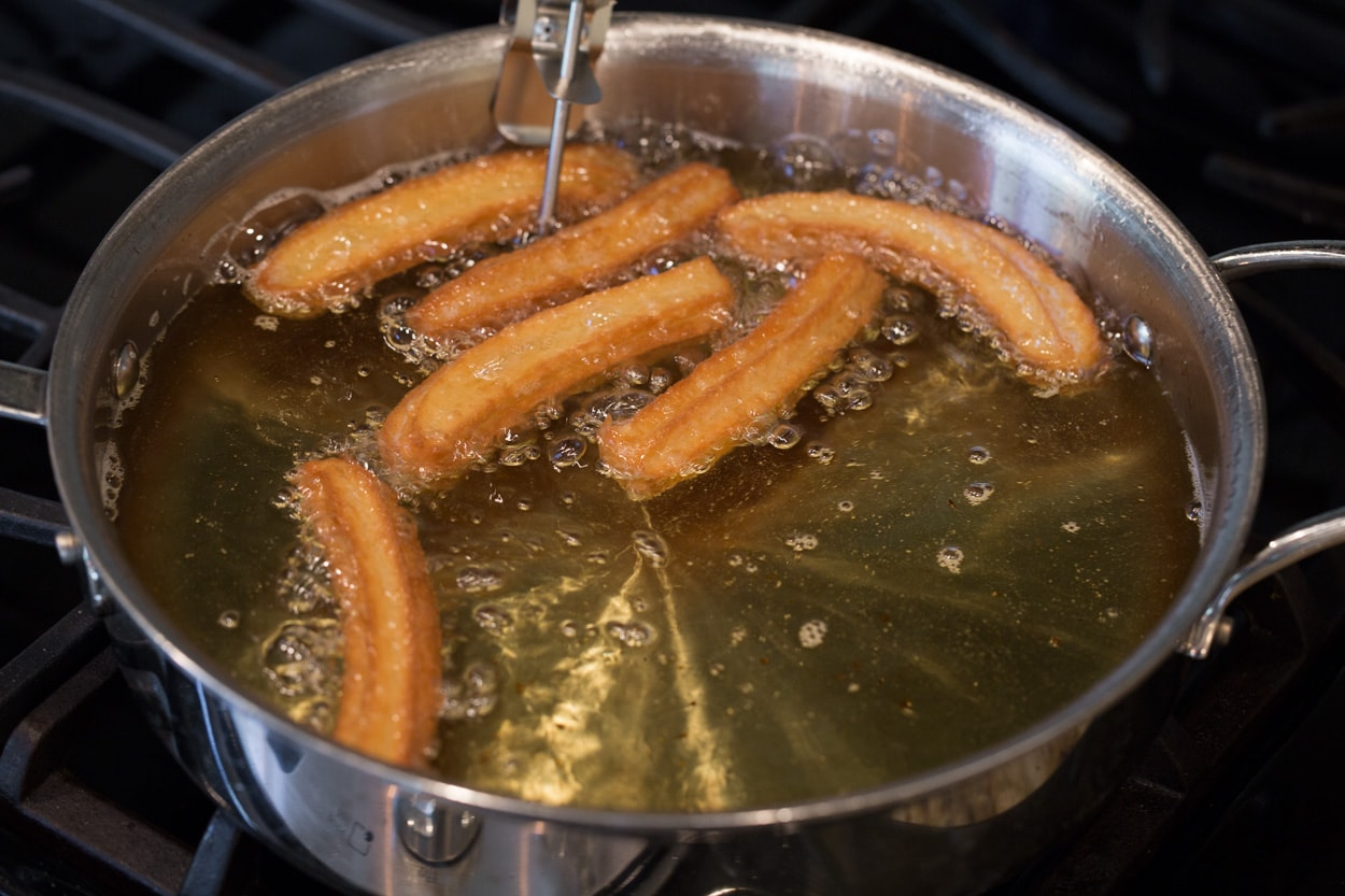 churros frying in oil
