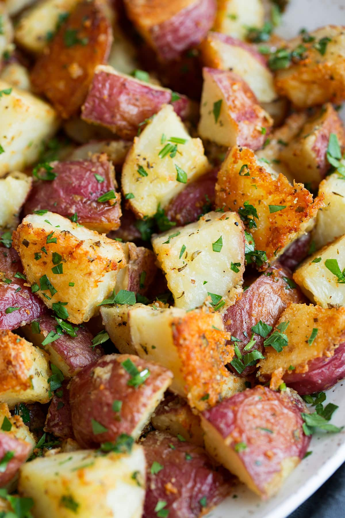 Close up image of roasted potatoes
