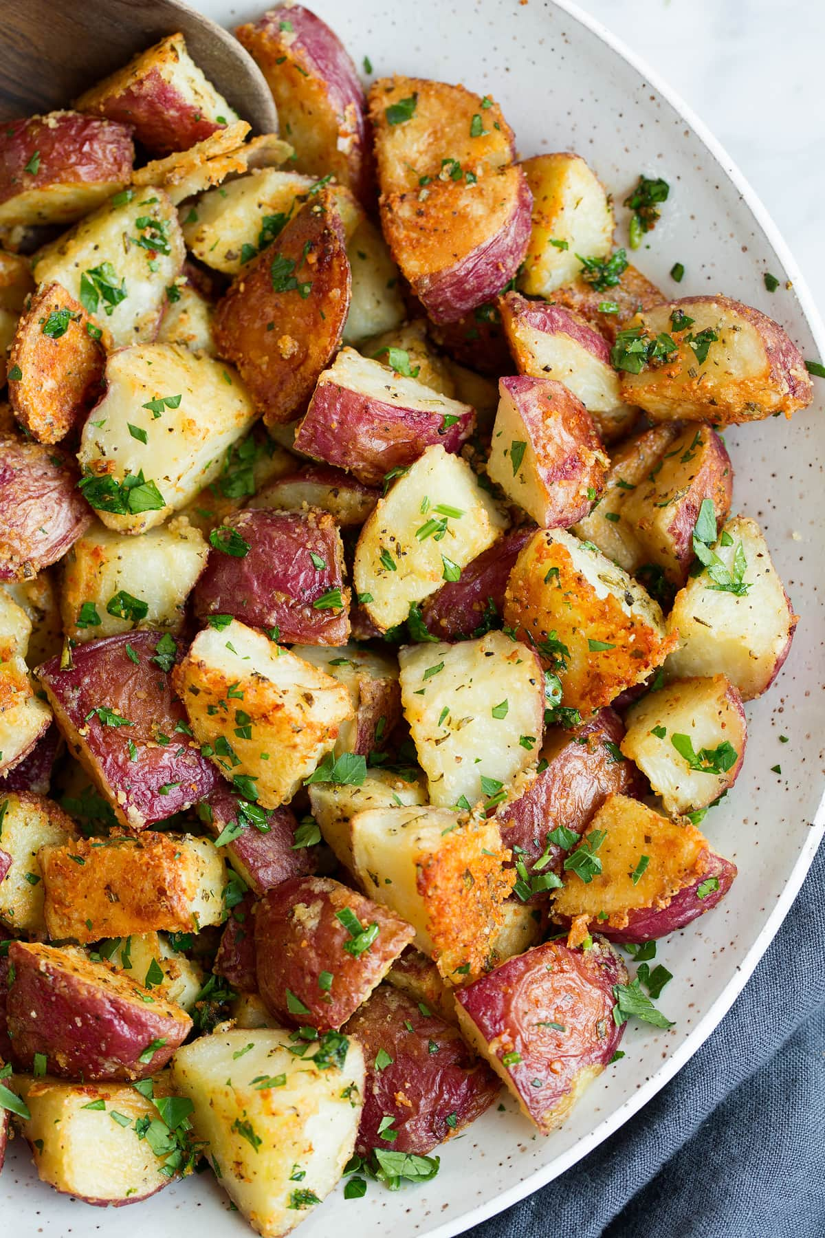 Oven Roasted Potatoes With Parmesan Garlic Herbs Cooking Classy