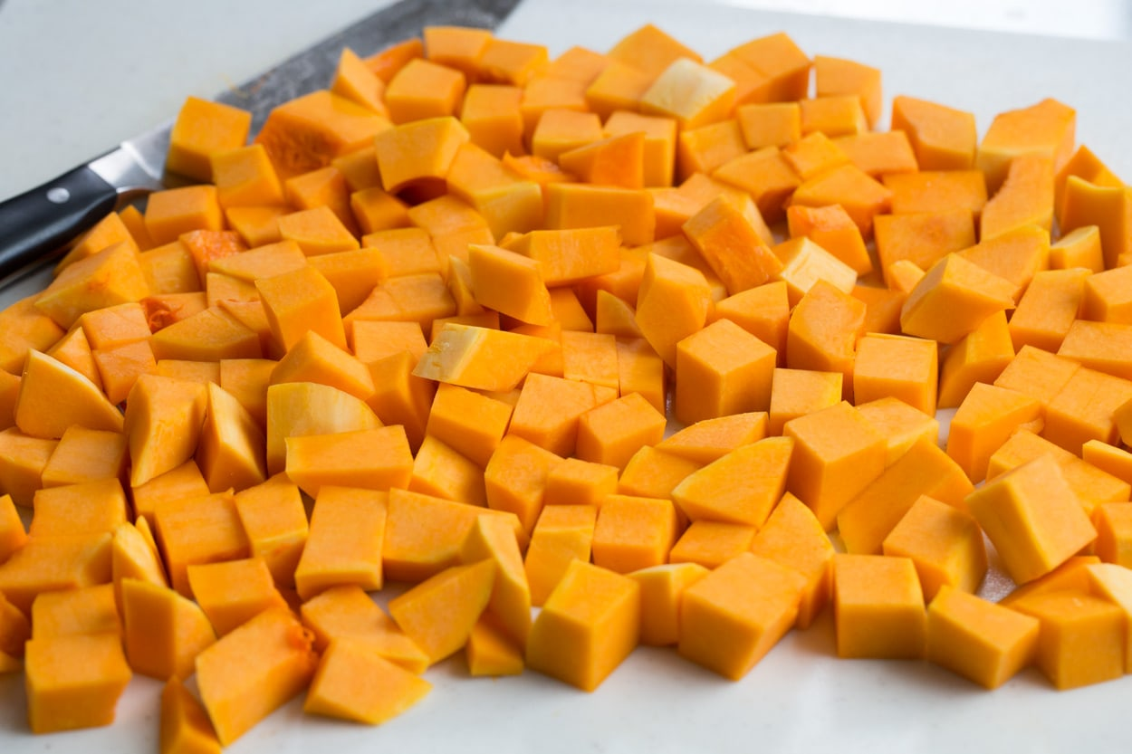Completed chopped butternut squash in cubes.
