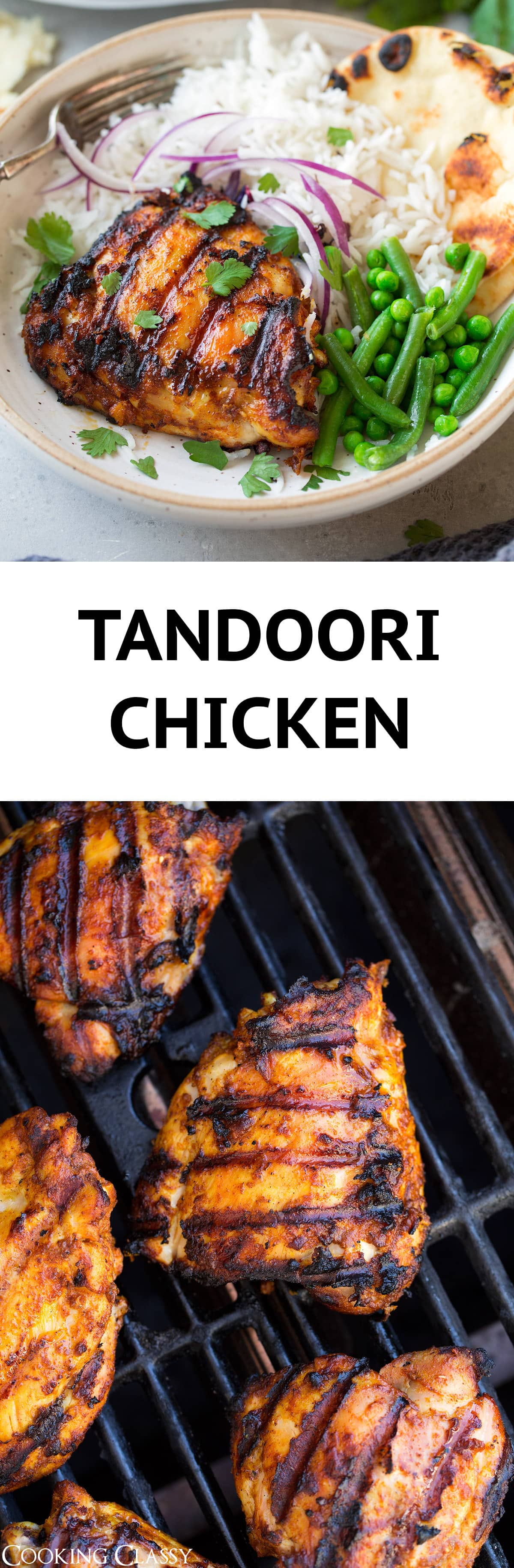 Tandoori Chicken -  just as good as what you'd get at an Indian restaurant and it's so easy to make! Chicken thighs are soaked in a creamy, well spiced, yogurt based marinade and then cooked on the grill to get that traditional char. #chicken #recipe #tandoorichicken #indianfood