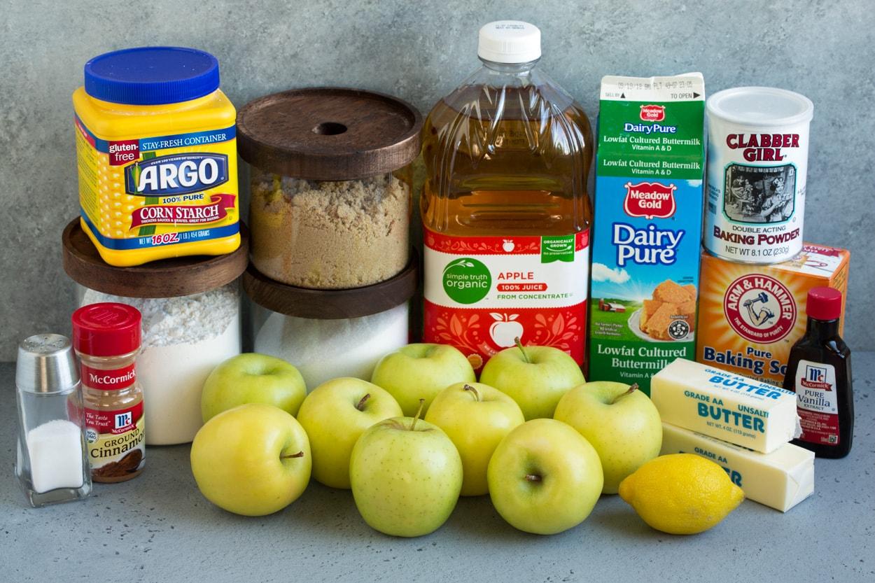Apple Cobbler ingredients shown here flour apples sugar brown sugar cornstarch apple juice buttermilk baking soda baking powder butter lemon vanilla