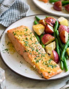 Baked Salmon with Buttery Honey Mustard Sauce