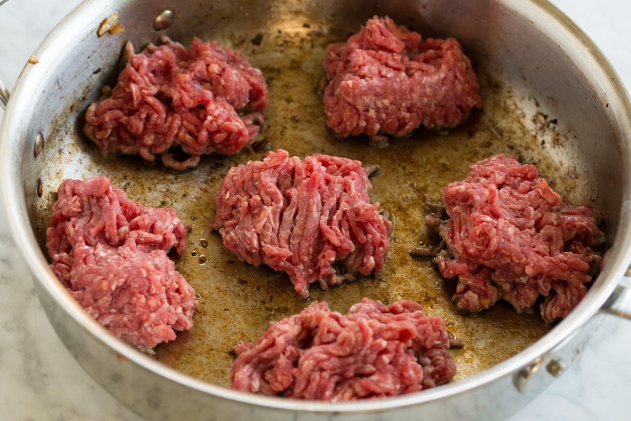 Browning beef in saute pan for beef stroganoff