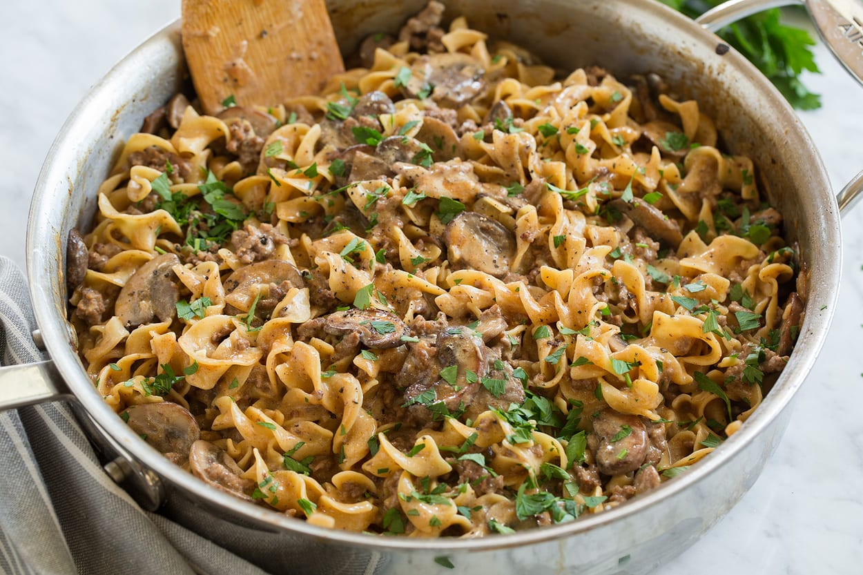 Finished beef stroganoff shown here in saute pan