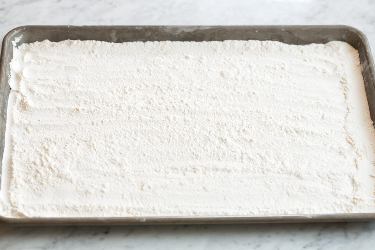 Toasting flour for edible cookie dough on sheet pan