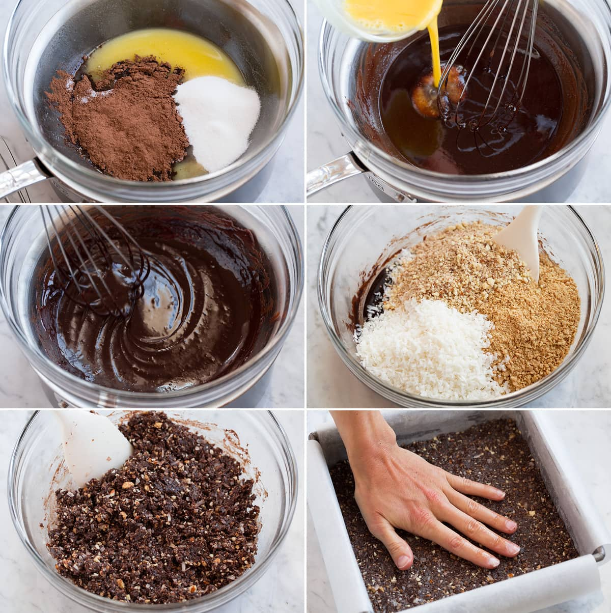 Collage of 6 images showing steps of preparing first layer of nanaimo bars. Made with cocoa, sugar, graham crackers, coconut and nuts.
