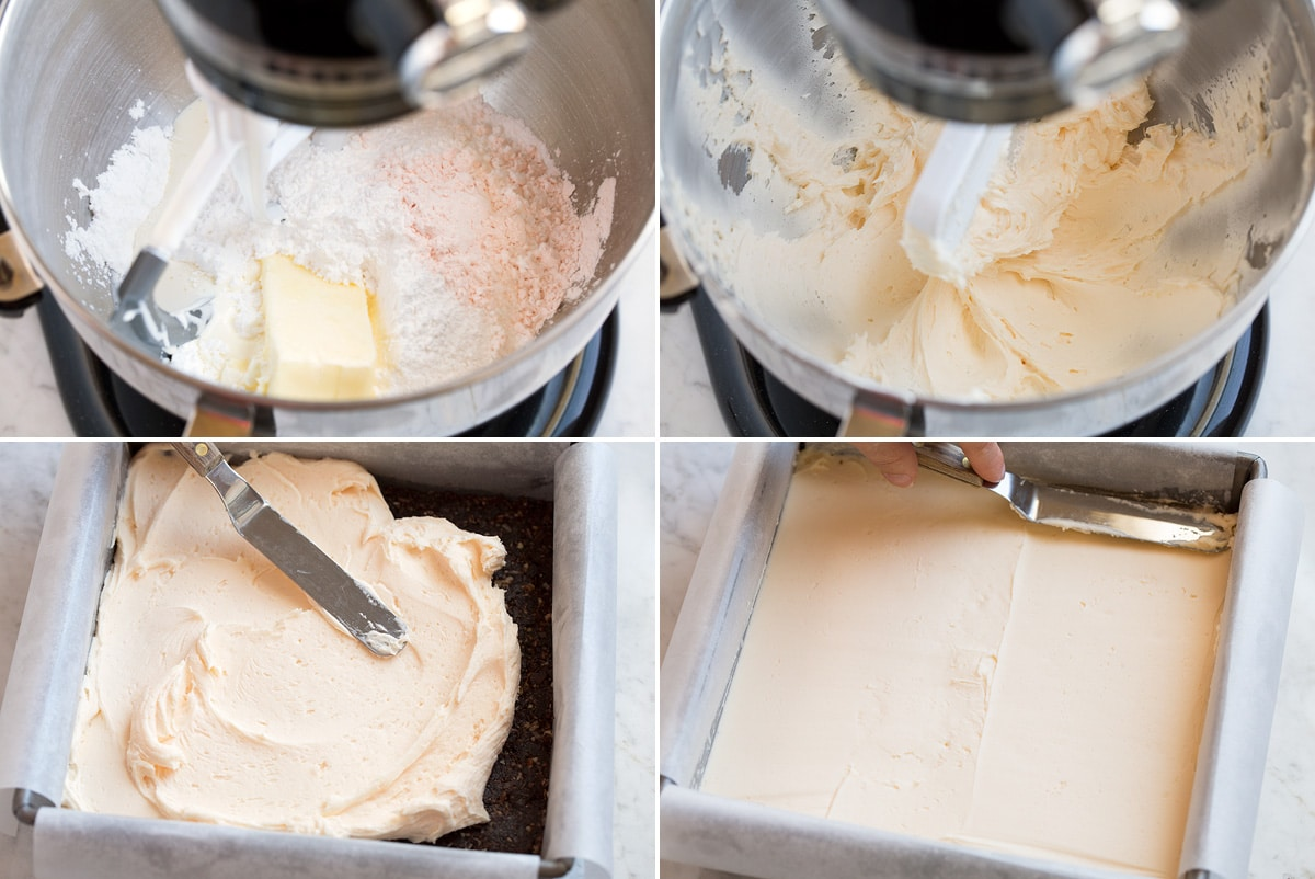 Collage of four images showing how to prepare second layer, icing custard flavored layer of Nanaimo bars. Mixing butter, custard powder, cream and powdered sugar in a mixer then spreading over first layer.