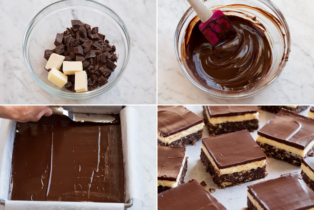 Collage of four images showing how to make third layer of Nanaimo bars. Shows melting chocolate and butter and spreading over Nanaimo bars.