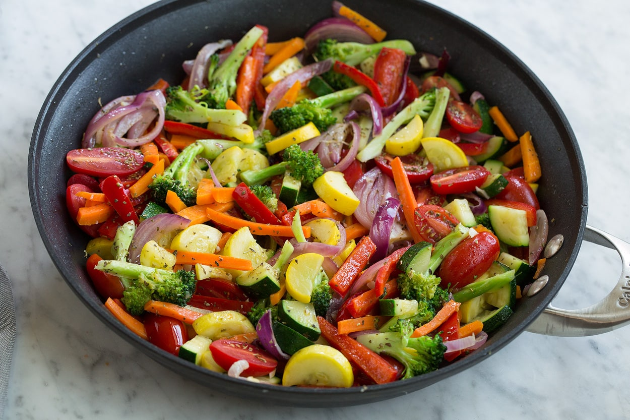 Pasta primavera vegetables shown here in skillet
